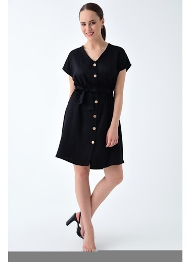 Cottonmood 9221590 Diyagonal V Yaka Elbise Siyah